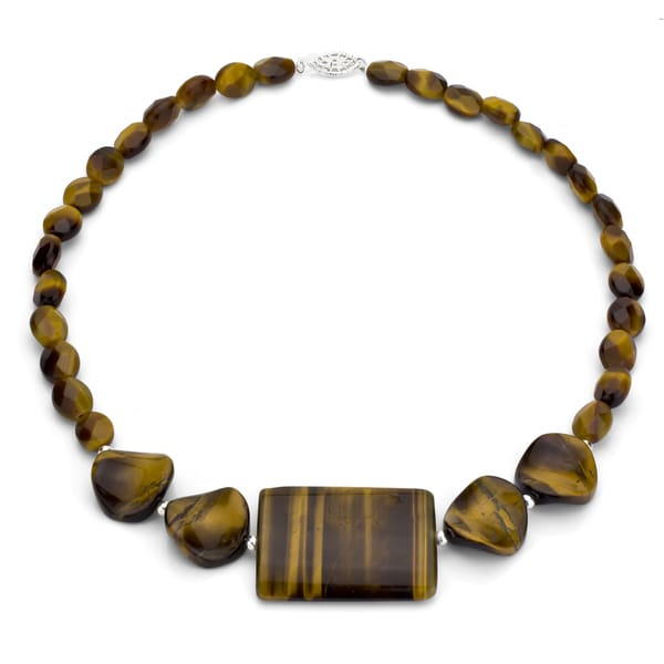 DaVonna Silver Fancy Tiger's Eye 16-inch Graduated Necklace
