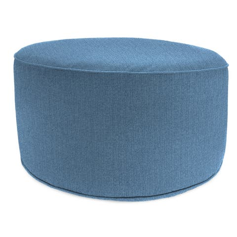 """24"""" Round Pouf with Welt in Mchusk Chambray - 24x24x13.5"""