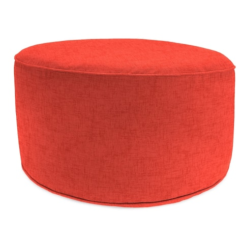 """24"""" Round Pouf with Welt in Jackson Indian Coral - 24x24x13.5"""