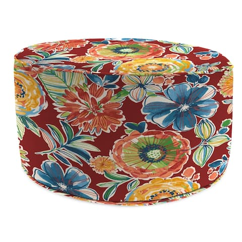 """24"""" Round Pouf with Welt in Colsen Berry - 24x24x13.5"""