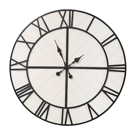 Stratton Home Decor Oversized 31 inch Henry Black and White Wood Wall Clock - 31.69 X 1.57 X 31.69