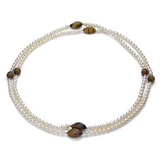 DaVonna Silver White FW Pearl and Tiger's Eye 36-inch Endless Necklace (5 mm)