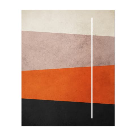 Abstract Geometric Line Orange Red Unframed Wall Art Print/Poster