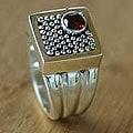 Handmade Garnet 'Combination' Sterling Silver Ring (Indonesia)