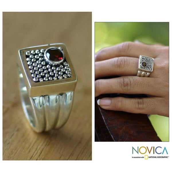 Handmade Garnet 'Combination' Sterling Silver Ring (Indonesia)