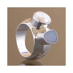 Sterling Silver 'Never Apart' Opal and Pearl Ring