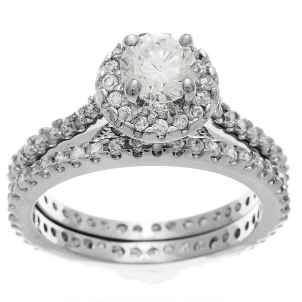 Simon Frank 14k White Gold Overlay Round Diamoness Bridal Ring Set