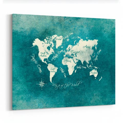 Blue Green Map Map of The World Maps Canvas Wall Art Print