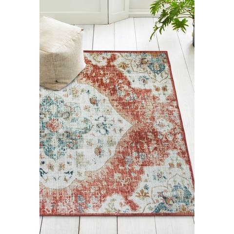 ReaLife Machine Washable, Eco-Friendly Vintage Distressed Bohemian Rug