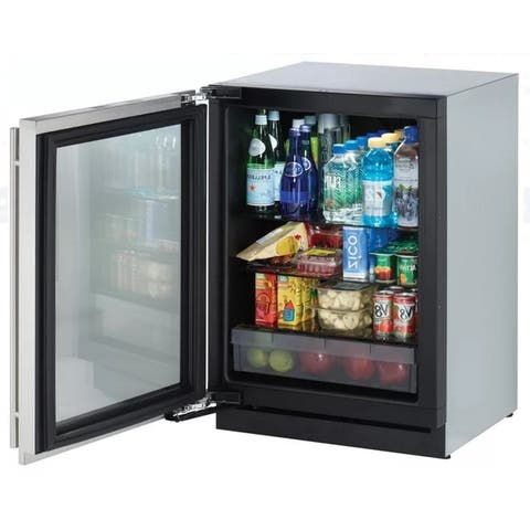 24 Inch 3000 Series Convection Cool Glass Door Refrigerator SS LHH - Compact