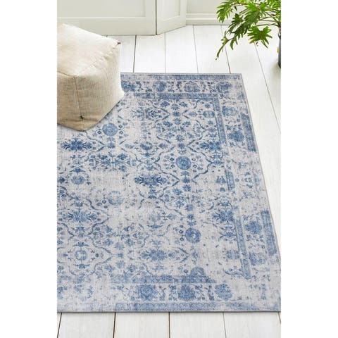 ReaLife Machine Washable, Eco-Friendly Vintage Distressed Trellis Rug