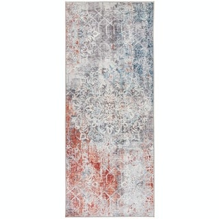 Link to ReaLife Machine Washable, Eco-Friendly Vintage Distressed Floral Rug Similar Items in Rugs