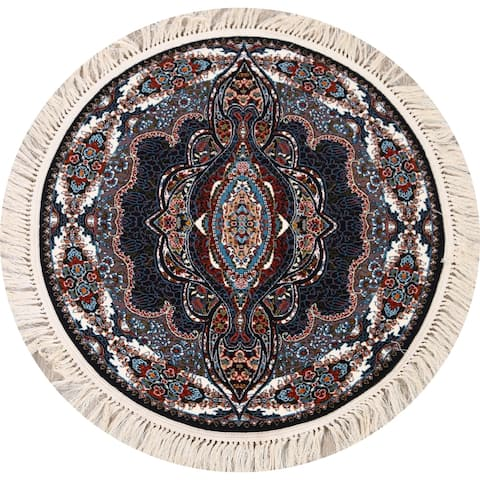 "Floral Tabriz Turkish Oriental Area Rug Brown Carpet - 3'9"" x 3'9"" Round - 3'9"" x 3'9"" Round"
