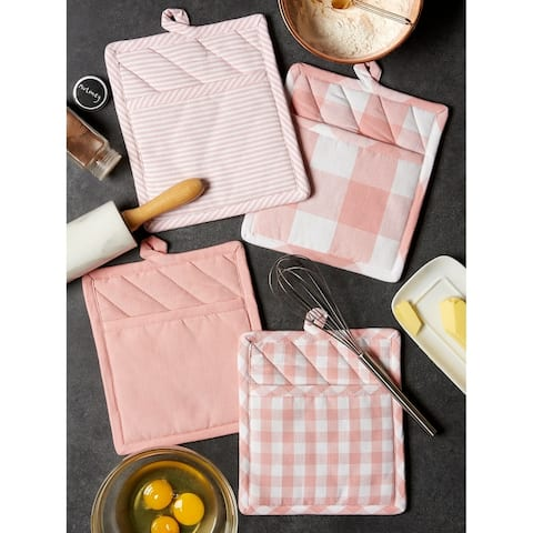 DII Assorted Pink/White Potholder Set/4