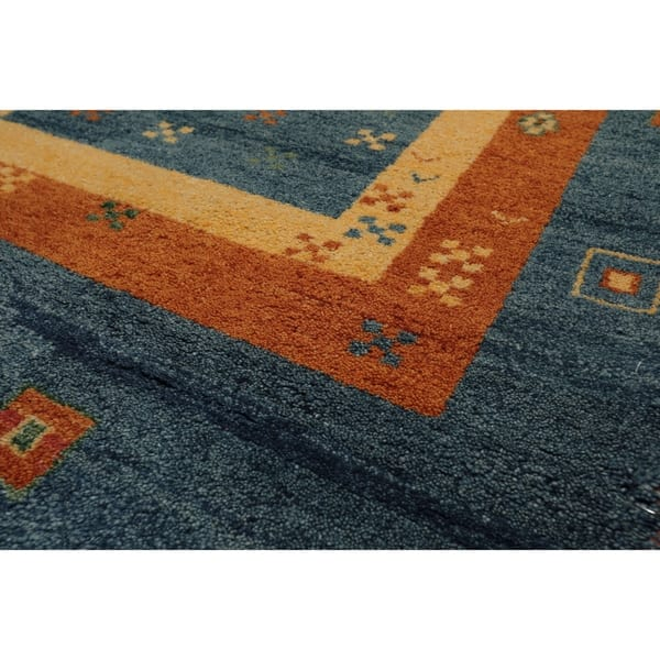 Gabbeh Hand Knotted Blue Burnt Orange Wool Persian Oriental Area Rug 4 X5 11 4 1 X 6 2 Overstock 31149343