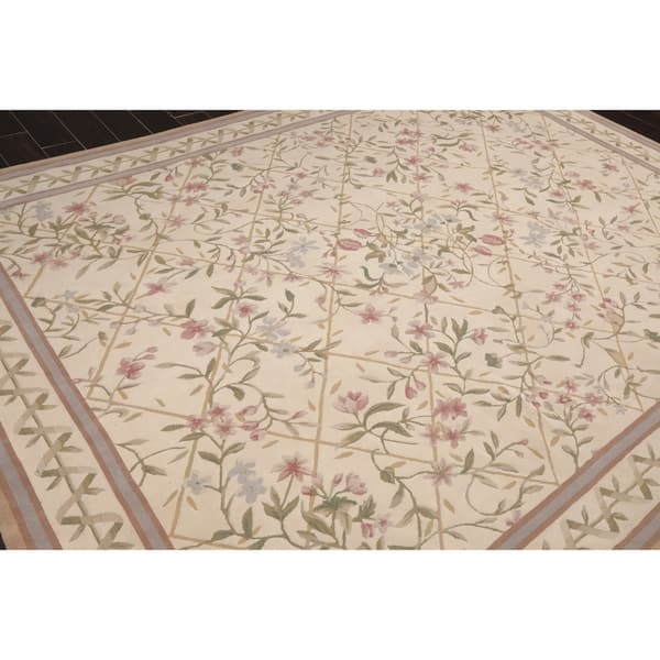 French Aubusson Savonnerie Hand Knotted Cream Green Wool Oriental Area Rug 7 10 X10 3 7 10 X 9 11 Overstock 31149377