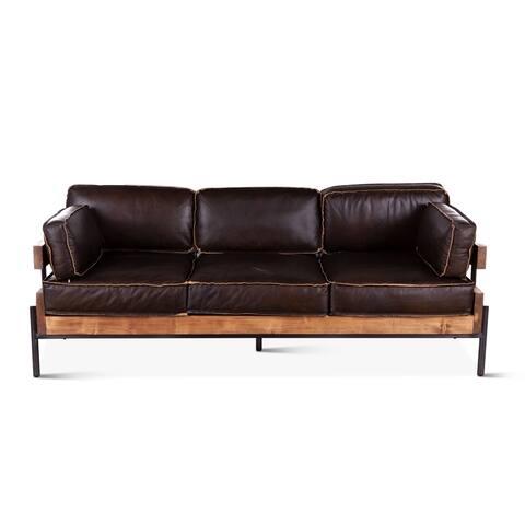 Chiavari Mocha Brown Leather Sofa