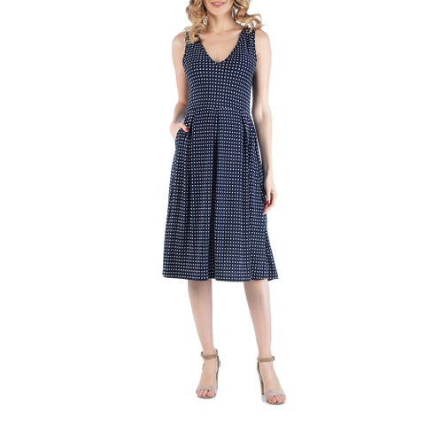 Fit and Flare Navy Maternity Polka Dot Midi Dress with Pockets