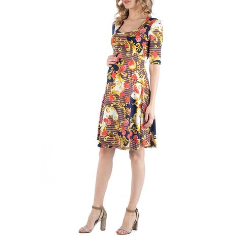 Paisley Print Maternity Fit and Flare Dress