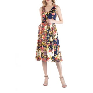 Multiprint Maternity Midi Dress with Pockets