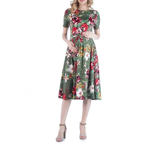 Floral Print Maternity Midi Dress with Pockets