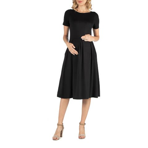 Maternity Midi Dress with Short Sleeve and Pocket Detail