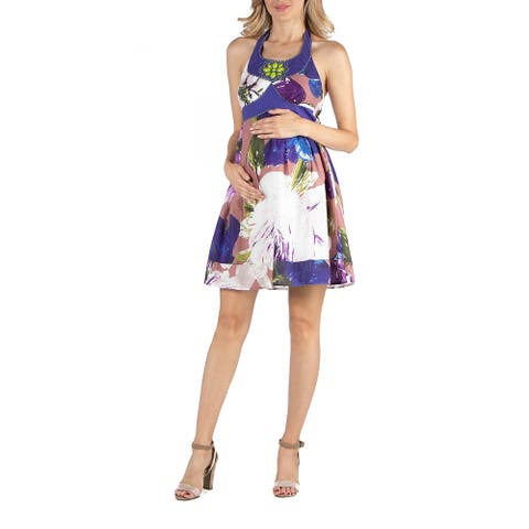 Watercolor Floral Print Beaded Halter Maternity Dress
