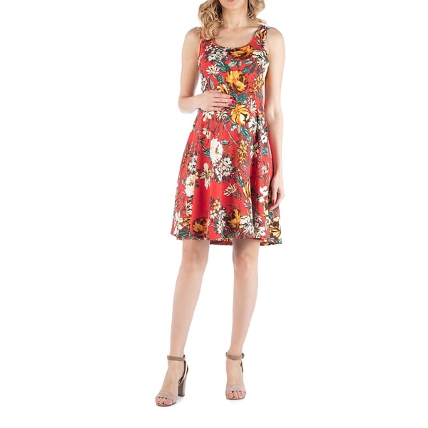 Floral Print Sleeveless Maternity Dress