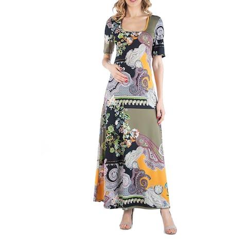 Multicolor Paisley Floral Print Maternity Maxi Dress