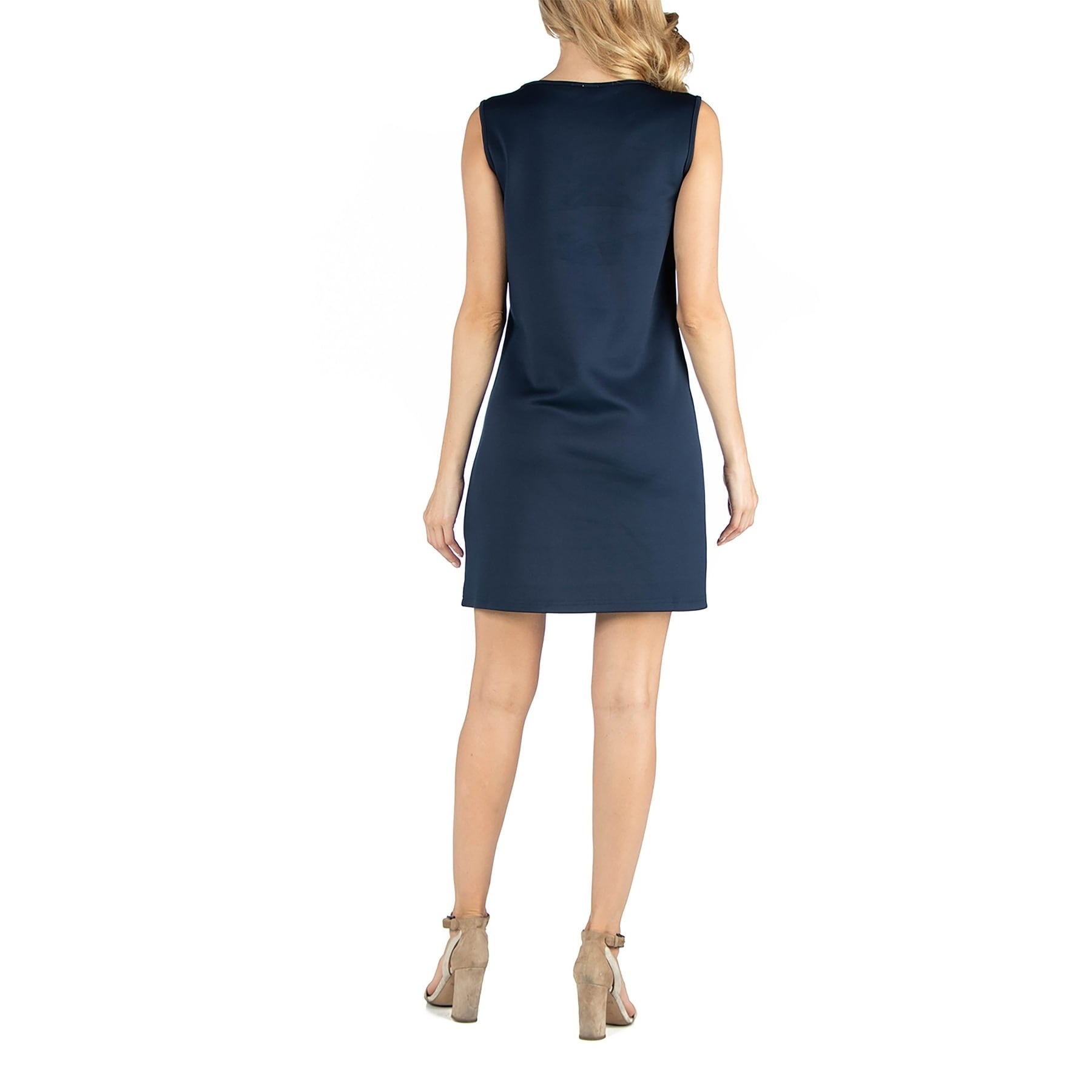 Scoop Neck Sleeveless Maternity Shift Dress With Bodice Detail Overstock 31149693