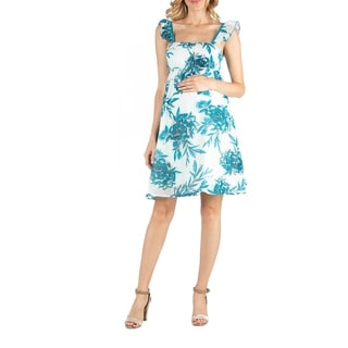 Ruffle Strap Turquoiuse Floral Sleeveles Maternity Dress