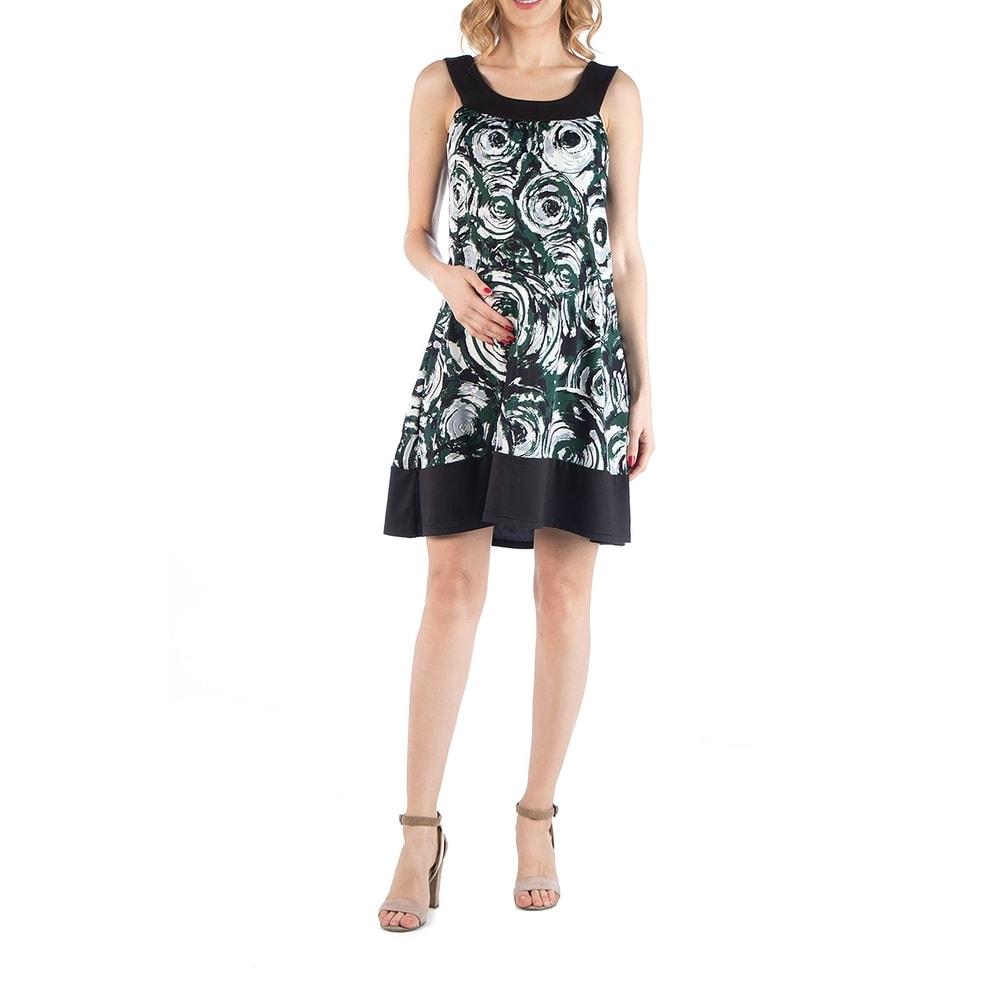 Geometric Circlet Pattern Sleeveless Maternity Dress