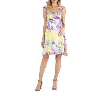 Ruffle Strap Multi Color Floral Sleeveles Maternity Dress