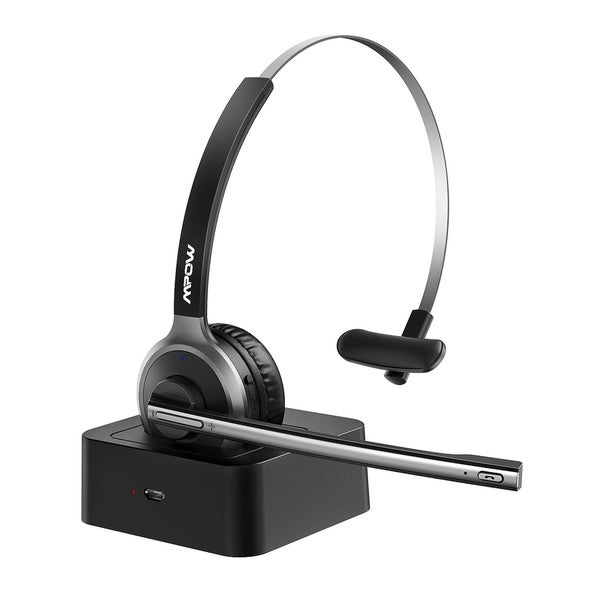 Shop Mpow Trucker Bluetooth Headsets With Mic Noise Cancelling For Conference Laptop Pc Tablets Call Center Wireless Office Headset Overstock 31165366 Silver