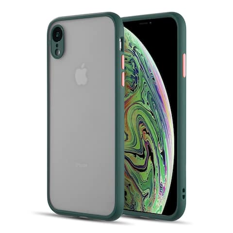 frosted 2 tone pc camera lens protector case for iphone xr - midnight