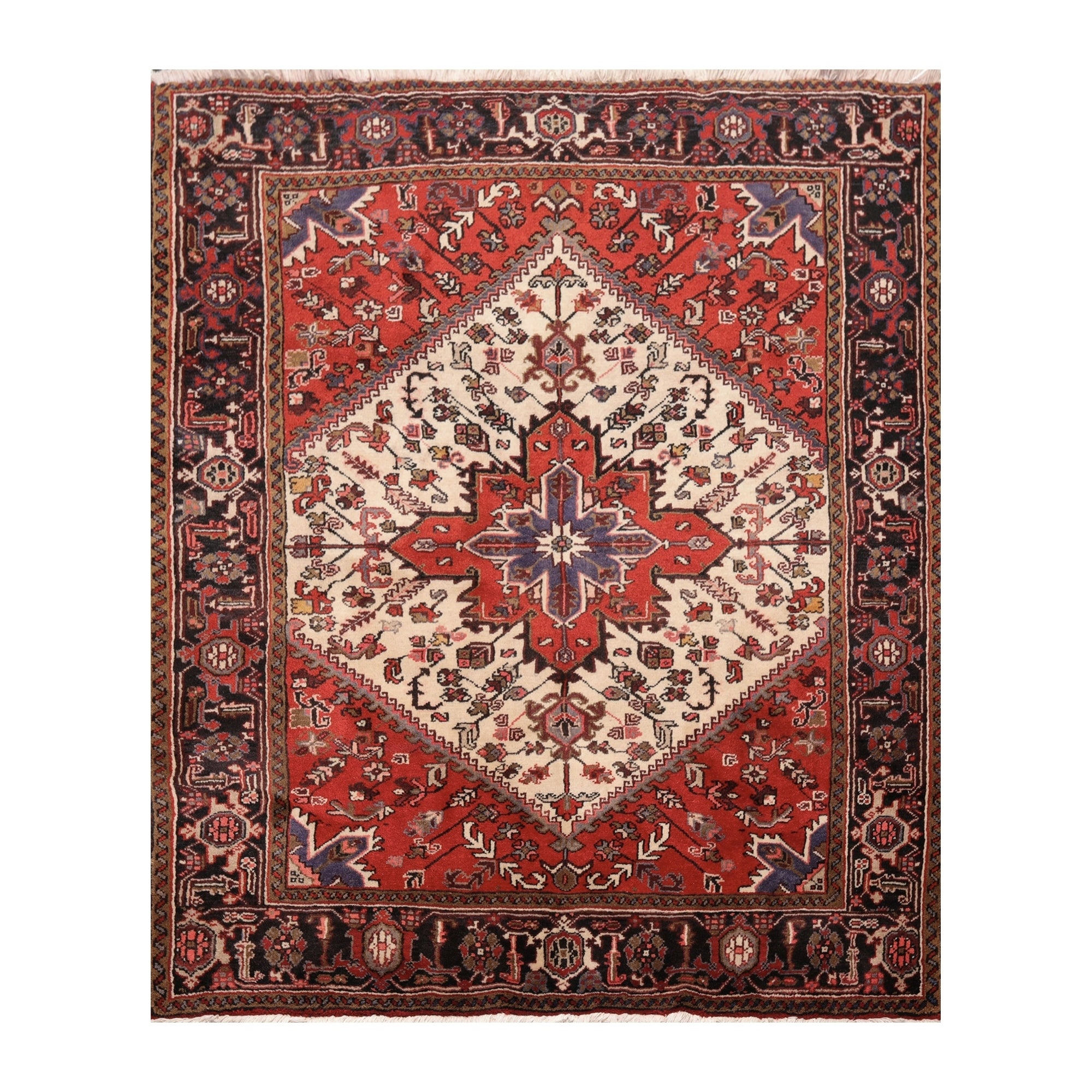 Heriz Hand Knotted Ivory Red Wool Persian Oriental Area Rug 5 3 X6 4 4 11 X 6 6 On Sale Overstock 31169274
