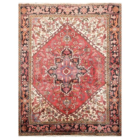 """Heriz Hand Knotted Red,Ivory Wool Persian Oriental Area Rug (5'x6'5'') - 4'11"""" x 6'6"""""""