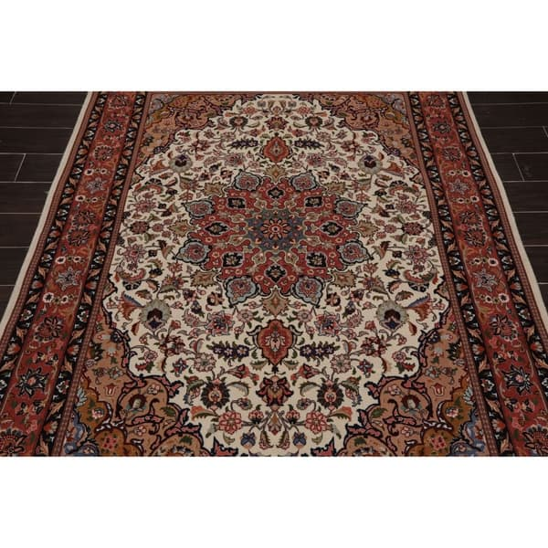 Tabriz Hand Knotted 250 Kpsi Cream Rose Persian Wool And Silk Oriental Area Rug 5 2 X6 8 5 3 X 7 7 On Sale Overstock 31169316