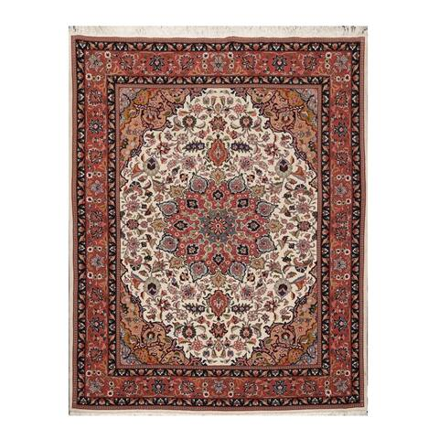Tabriz Hand Knotted 250 KPSI Cream,Rose Persian Wool and Silk Oriental Area Rug (5'2''x6'8'') - 5'3 x 7'7