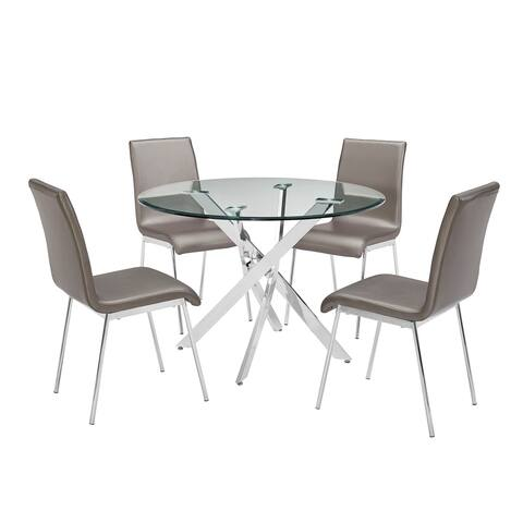5 Piece Dining Set with 1 Table and 4 Chairs, Silver and Brown