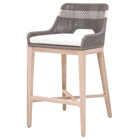 Interwoven Rope Barstool with Stretcher and Cross Support, Dark Gray