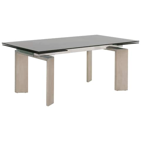 Tempered Glass Top Extendable Dining Table with Double Pedestal Base, Gray