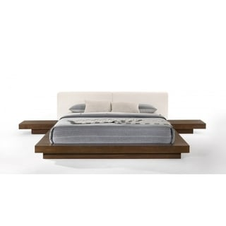 Link to Modrest Tokyo Contemporary Walnut and White Platform Bed Similar Items in Bedroom Furniture