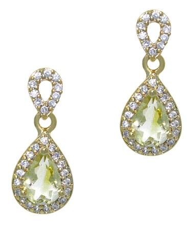 Glitzy Rocks 18k Gold Overlay Lime Quartz and CZ Teardrop Earrings