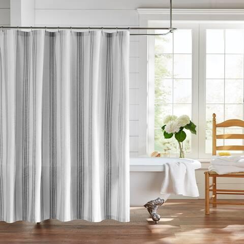 Farmhouse Living Homestead Stripe Fabric Bathroom Shower Curtain