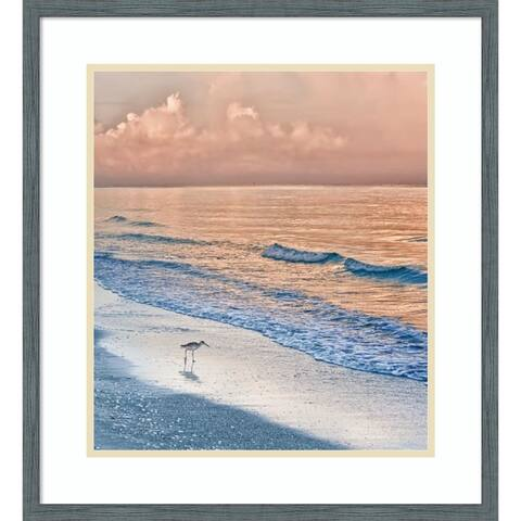 Framed Wall Art Print Sandpiper at Sunrise by Mary Lou Johnson 21.00 x 23.00-inch