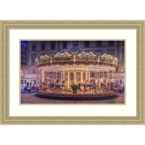 Framed Wall Art Print Carousel by Christian Marcel 29.00 x 21.00-inch