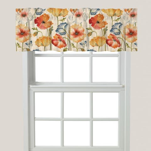 Multi Watercolor Poppies Window Valance
