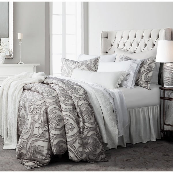 HiEnd Accents 3 Pc Nicole Damask Duvet Set, Super King Gray. Opens flyout.