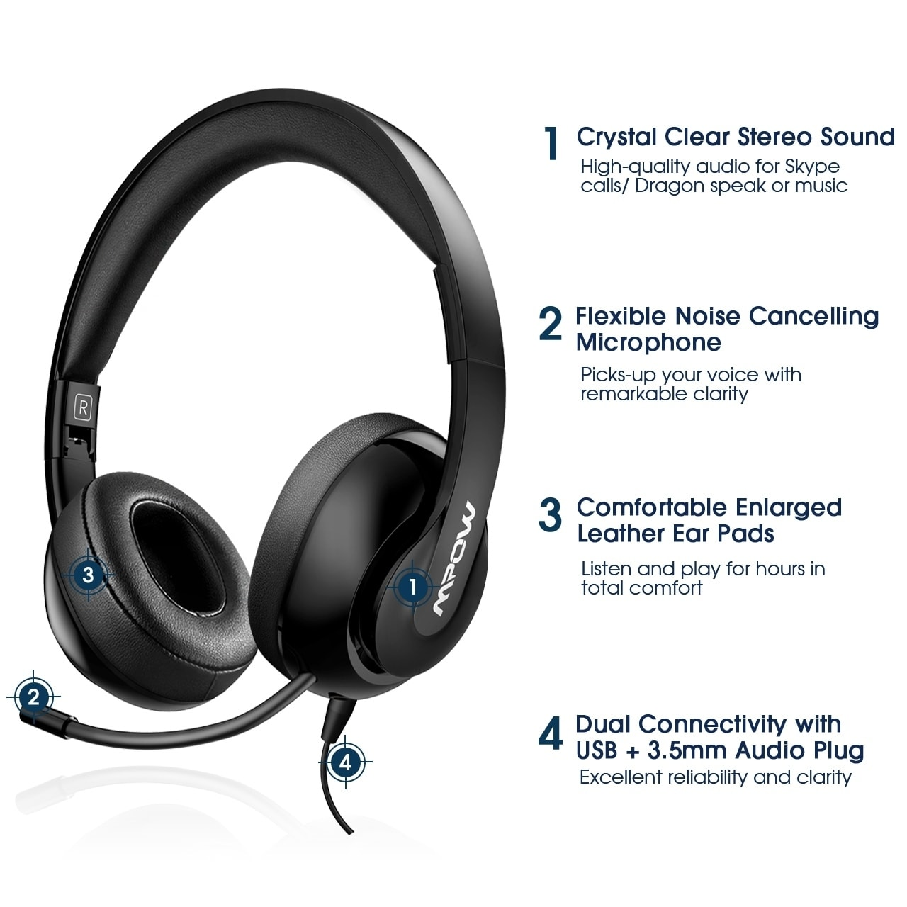 Shop Mpow 224 Usb 3 5mm Computer Headsets Bluetooth Headsets With Noise Cancelling Mic For Pc Tablets Business Headset For Skype Overstock 31194934